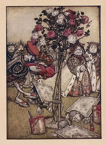 Original children's illustration of Painting Roses from Alice in Wonderland