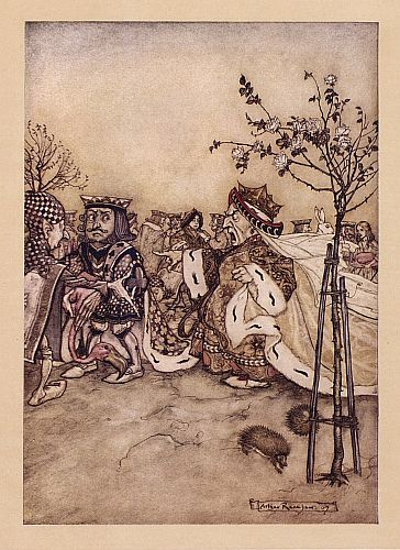 Original children's illustration of Queen Playing Croquet from Alice in Wonderland