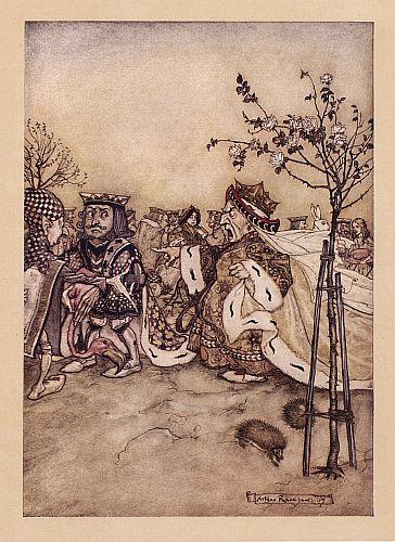 Original children's illustration of Queen Playing Croquet from Alice in Wonderland