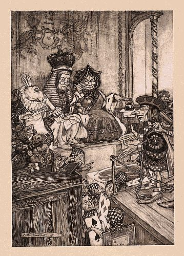 Original children's illustration of Who Stole the Tarts from Alice in Wonderland