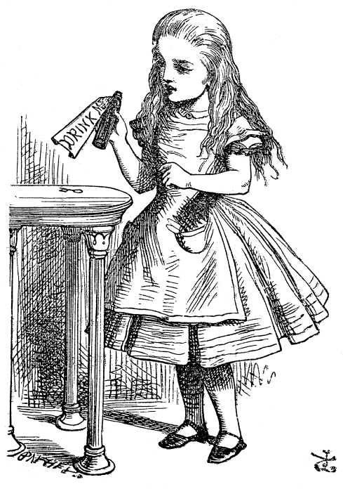 Original children's illustration by John Tenniel of Drink Me Bottle from Alice in Wonderland
