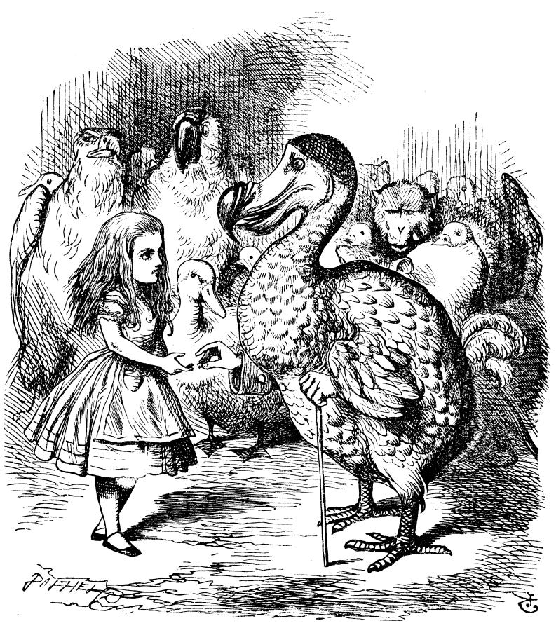 Original children's illustration by John Tenniel of Caucus Race from Alice in Wonderland
