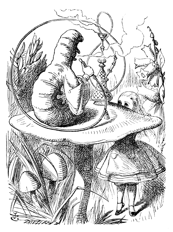 Original children's illustration by John Tenniel of Caterpillar from Alice in Wonderland