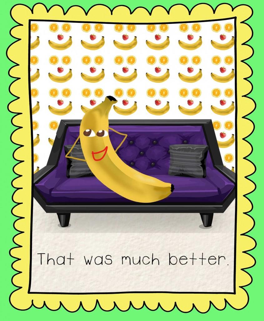 Bedtime stories Barry the Banana illustration - banana on a purple sofa
