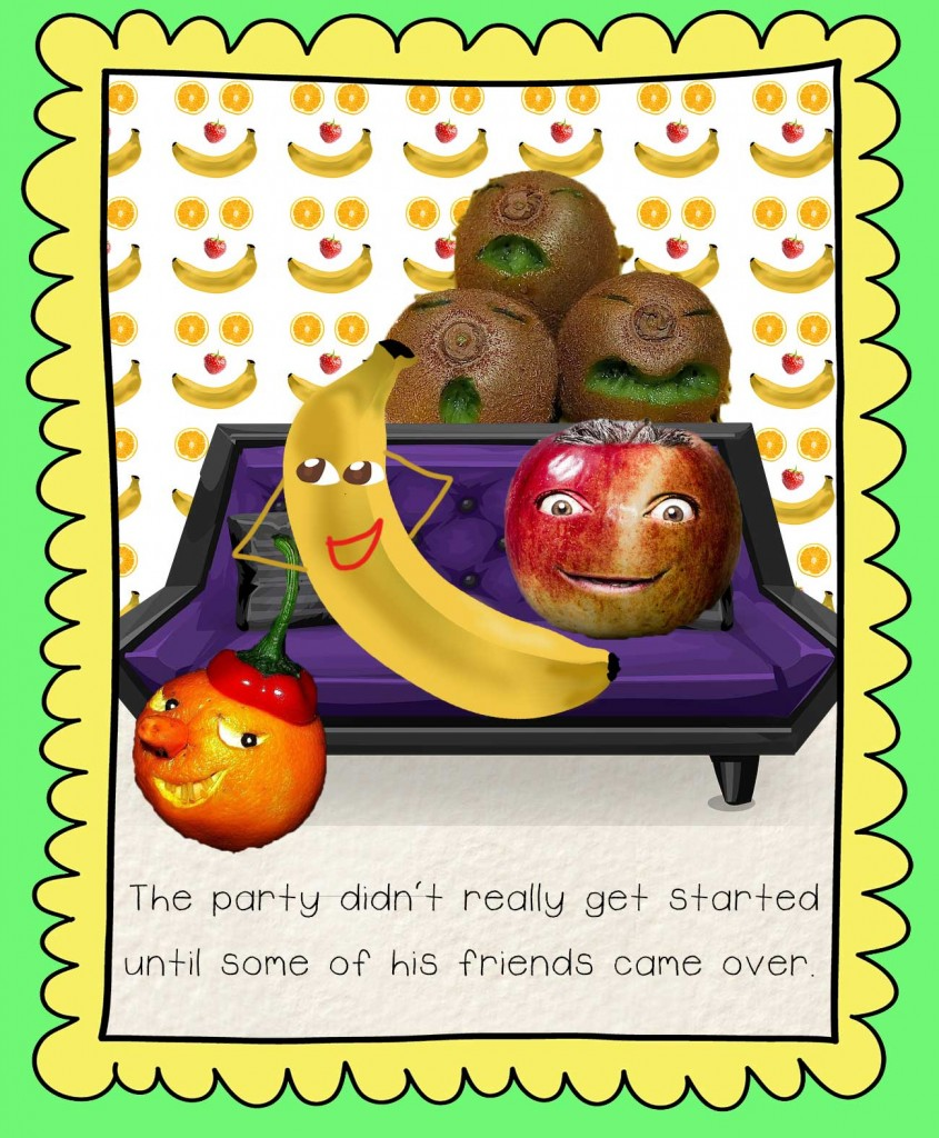 Bedtime stories Barry the Banana illustration - fruit party