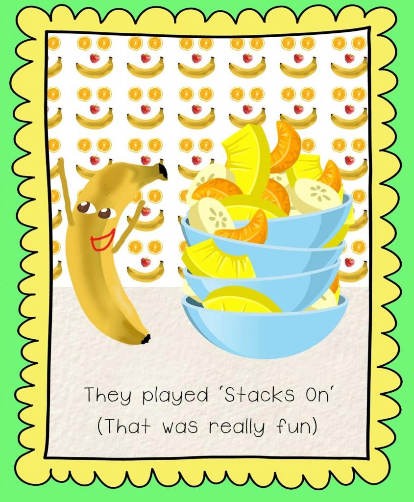 Bedtime stories Barry the Banana illustration - fruit salad game