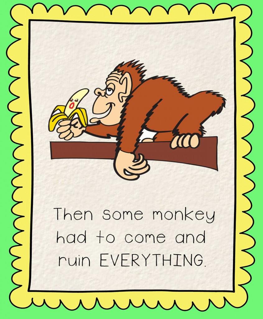Bedtime stories Barry the Banana illustration - monkey eating banana