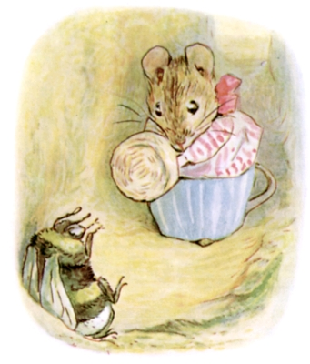 Beatrix Potter bedtime stories Tittlemouse with hand basket looking at striped bee