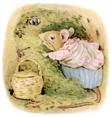 Beatrix Potter bedtime stories Tittlemouse with basket arguing with bees