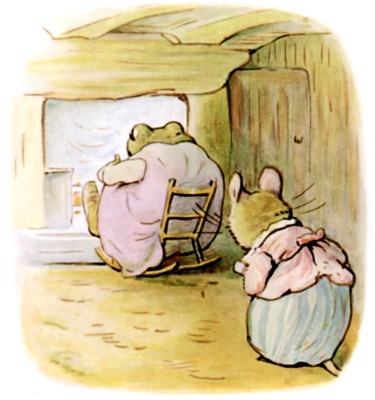 Beatrix Potter bedtime stories Tittlemouse sneaking behind frog in chair