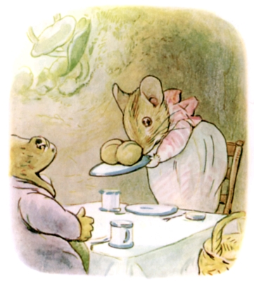 Beatrix Potter bedtime stories Tittlemouse serving dinner to toad