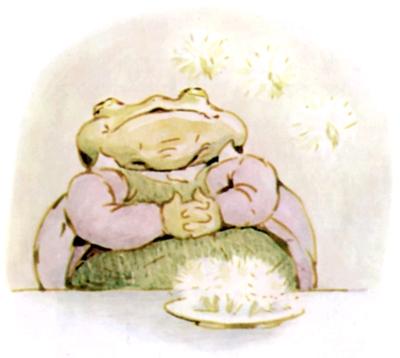 Beatrix Potter bedtime stories Tittlemouse happy frog hands on belly