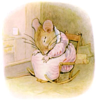Beatrix Potter bedtime stories Tittlemouse asleep in rocking chair