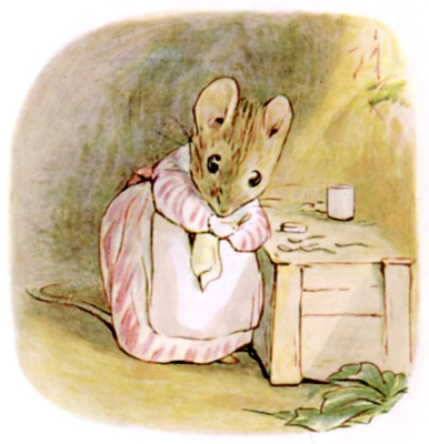 Beatrix Potter bedtime stories Tittlemouse standing in kitchen