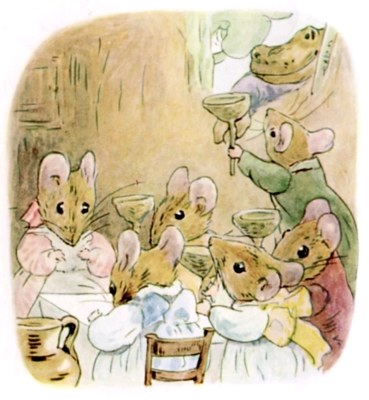 Beatrix Potter bedtime stories Tittlemouse toad arrives at mouse party