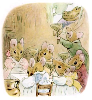 Beatrix Potter bedtime stories Tittlemouse toad arrives at mouse party