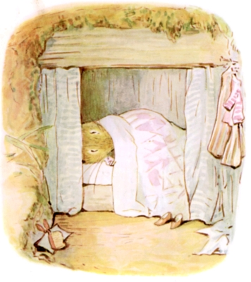 Beatrix Potter bedtime stories Tittlemouse lying in bed