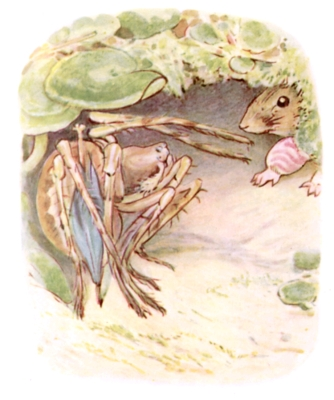 Beatrix Potter bedtime stories Tittlemouse and grasshopper in hole