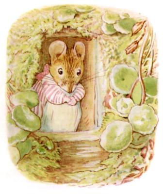 Beatrix Potter bedtime stories Tittlemouse at front door