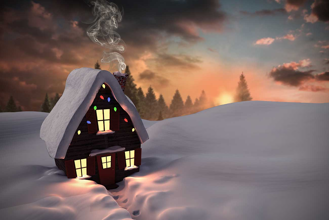 Bedtime stories at Christmas illustration of lit house in fir tree forest