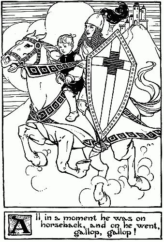 Original vintage illustration of boy and knight on horse for Hans Christian Andersen story Little Tuk