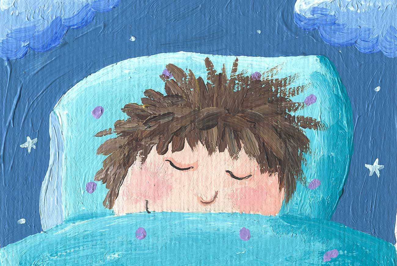Illustration for children's story Little Tuk of sleeping boy