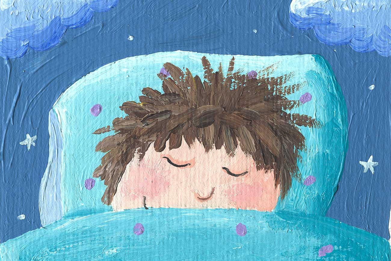 Illustration for children's story Little Tuk of sleeping boy