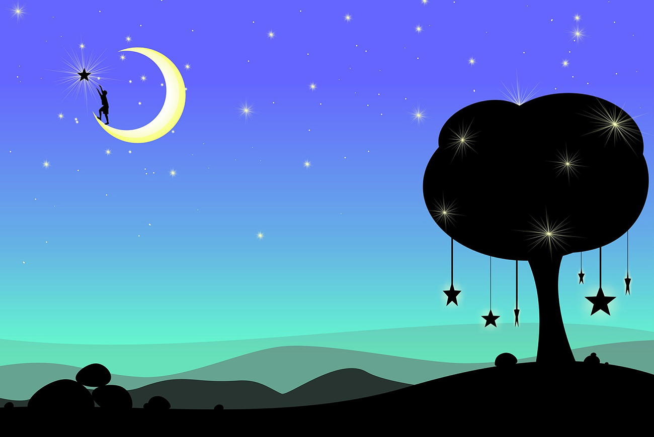 Illustration of moon and starry night for Chinese short story for kids, The Moon-Cake