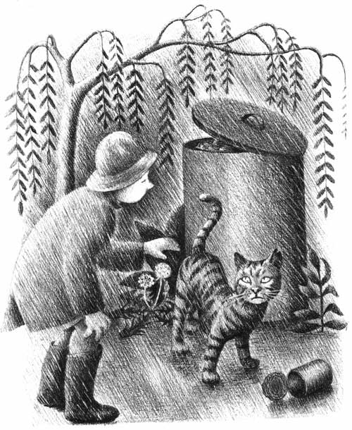 Children's illustration of boy and cat in rain for My Fathers Dragon