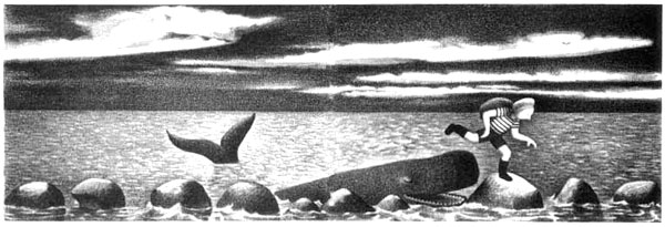 Children's illustration of boy and whale for story My Fathers Dragon