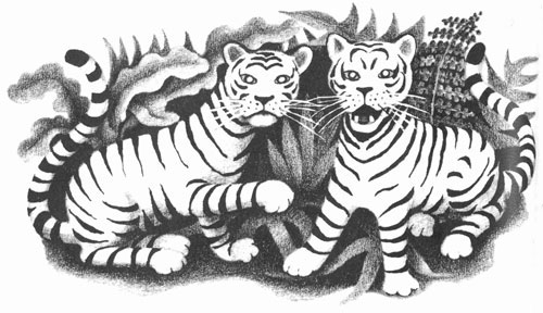 Children's illustration of two roaring tigers for story My Fathers Dragon