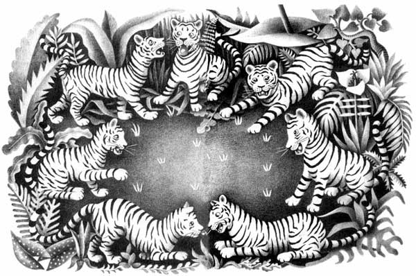 Children's illustration of lots of tigers in a circle for story My Fathers Dragon
