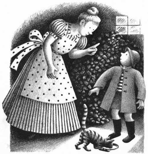 Children's illustration of mother scolding boy for My Fathers Dragon