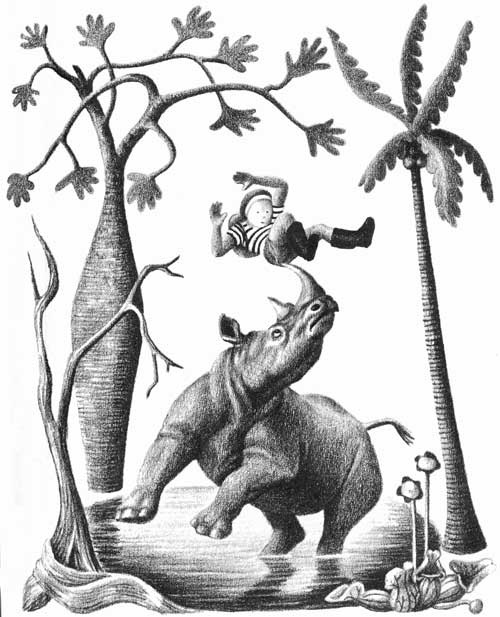 Children's illustration of rhinoceros tossing boy on horn for story My Fathers Dragon