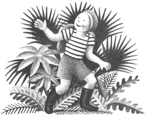 Children's illustration of boy smiling in forest for story My Fathers Dragon