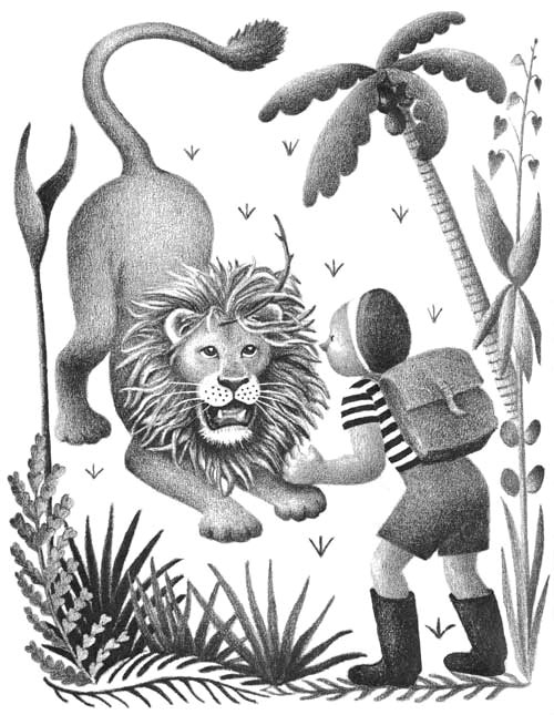 Children's illustration of boy and roaring lion for story My Fathers Dragon