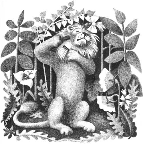 Children's illustration of lion brushing his mane for story My Fathers Dragon