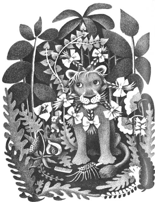 Children's illustration of lion with pretty hair and ribbons for story My Fathers Dragon