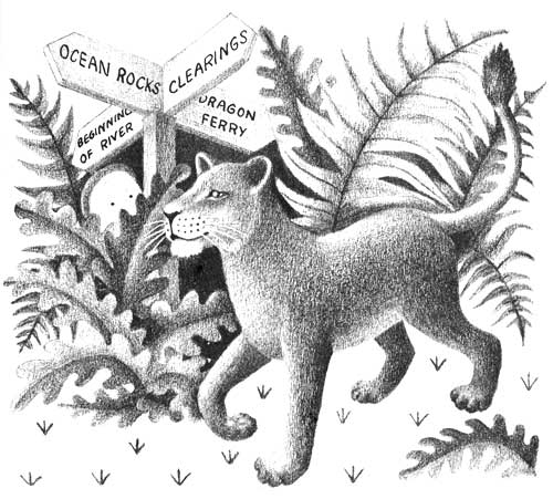 Children's illustration of lioness walking in jungle for story My Fathers Dragon