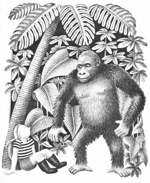 Children's illustration of boy and gorilla for story My Fathers Dragon