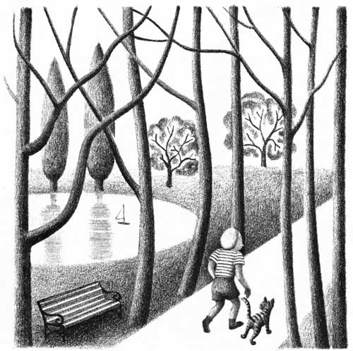 Children's illustration of boy and cat walking through forest for My Fathers Dragon