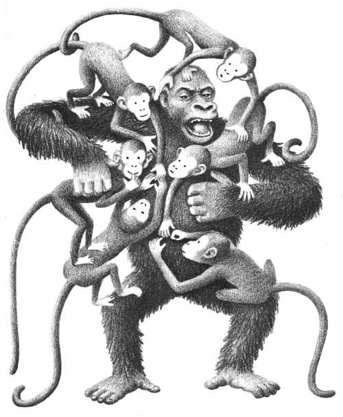 Children's illustration of daddy gorilla and babies for story My Fathers Dragon