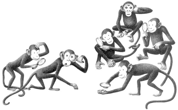 Children's illustration of baby monkeys for story My Fathers Dragon