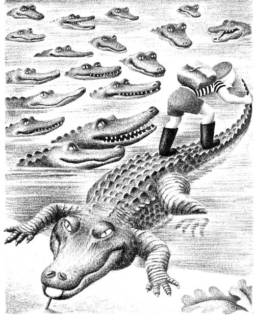 Children's illustration of boy with lots of crocodiles in river for story My Fathers Dragon