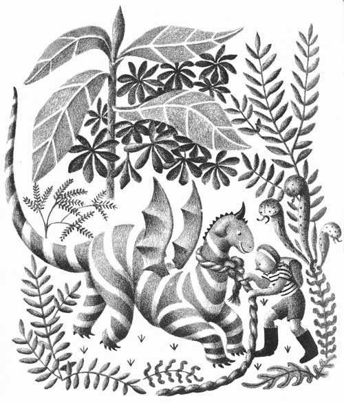 Children's illustration of boy rescuing dragon for story My Fathers Dragon