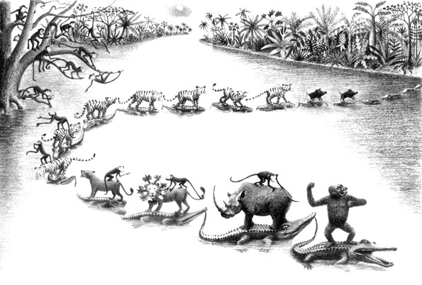 Children's illustration of wild animals stuck on chain of crocodiles for story My Fathers Dragon