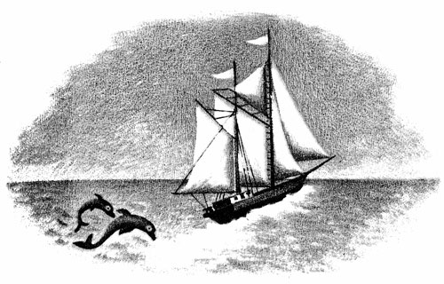 Children's illustration of ship and dolphins for story My Fathers Dragon