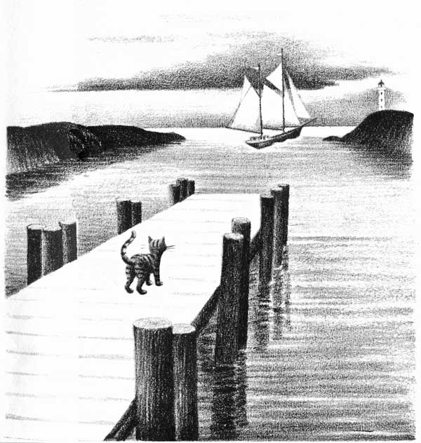 Children's illustration of cat on pier for story My Fathers Dragon