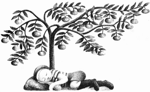 Children's illustration of boy sleeping under tree for story My Fathers Dragon
