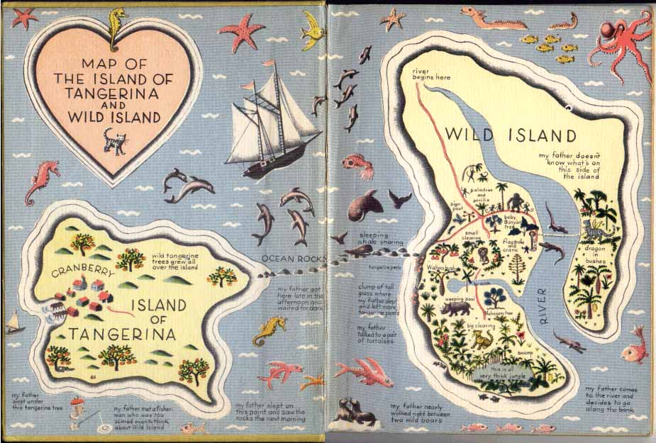 Children's illustration of colored map of Wild Island for story My Fathers Dragon